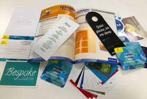 Printed door hangers, coasters, cards, menus, magazines