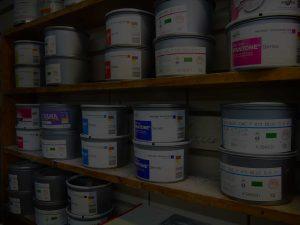 Shelves of premium, bio-degradable inks