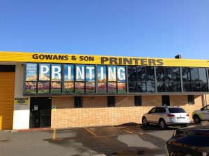 Gowans & Son frontage one way window graphics