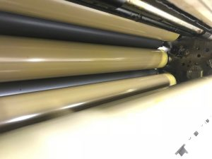 Cleaned and calibrated ink rollers on the Sakurai press