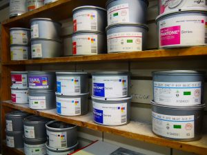 Shelves of the best quality printing inks
