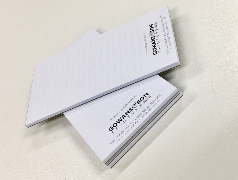 Handy notepads by Gowans & Son Printers, Sydney