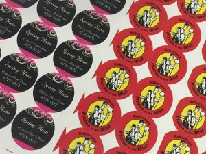 45mm round stickers from Gowans & Son, Chipping Norton, Sydney