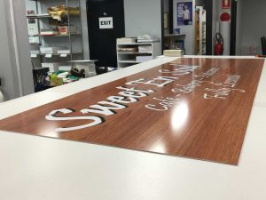 Large perspex sign for back lighting
