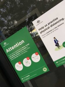 COVID 19 safety posters printed on easy apply repositionable vinyl in Chipping Norton Liverpool NSW
