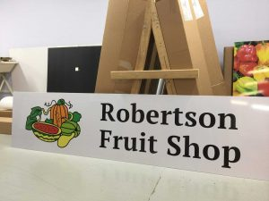 2400 x 600mm Alupanel sign for Robertson Fruit shop printed in Chipping Norton Sydney NSW