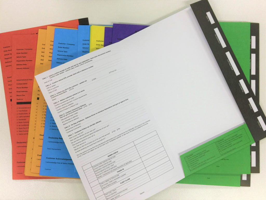 Follow up checklist manilla folders with fold in pockets custom printed