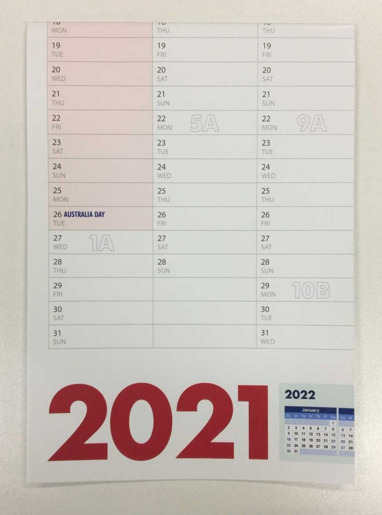 A1 Wall Planner printed and folded to A4 in Liverpool NSW