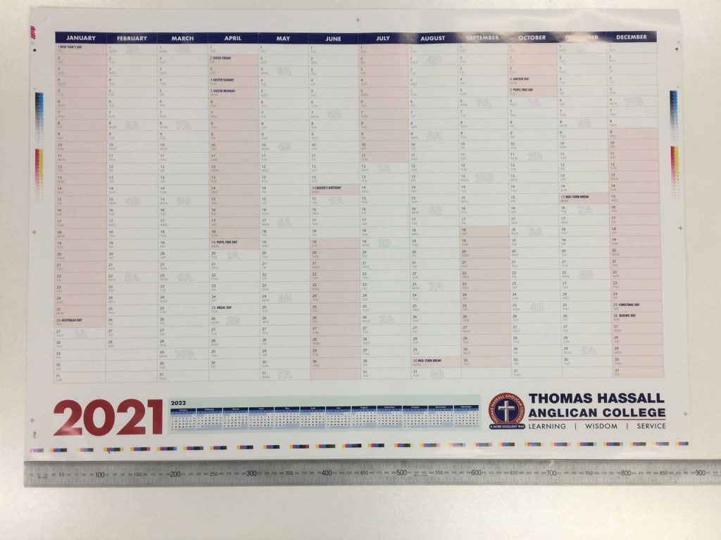 A1 Wall Calendar before trim and fold printed in Liverpool NSW