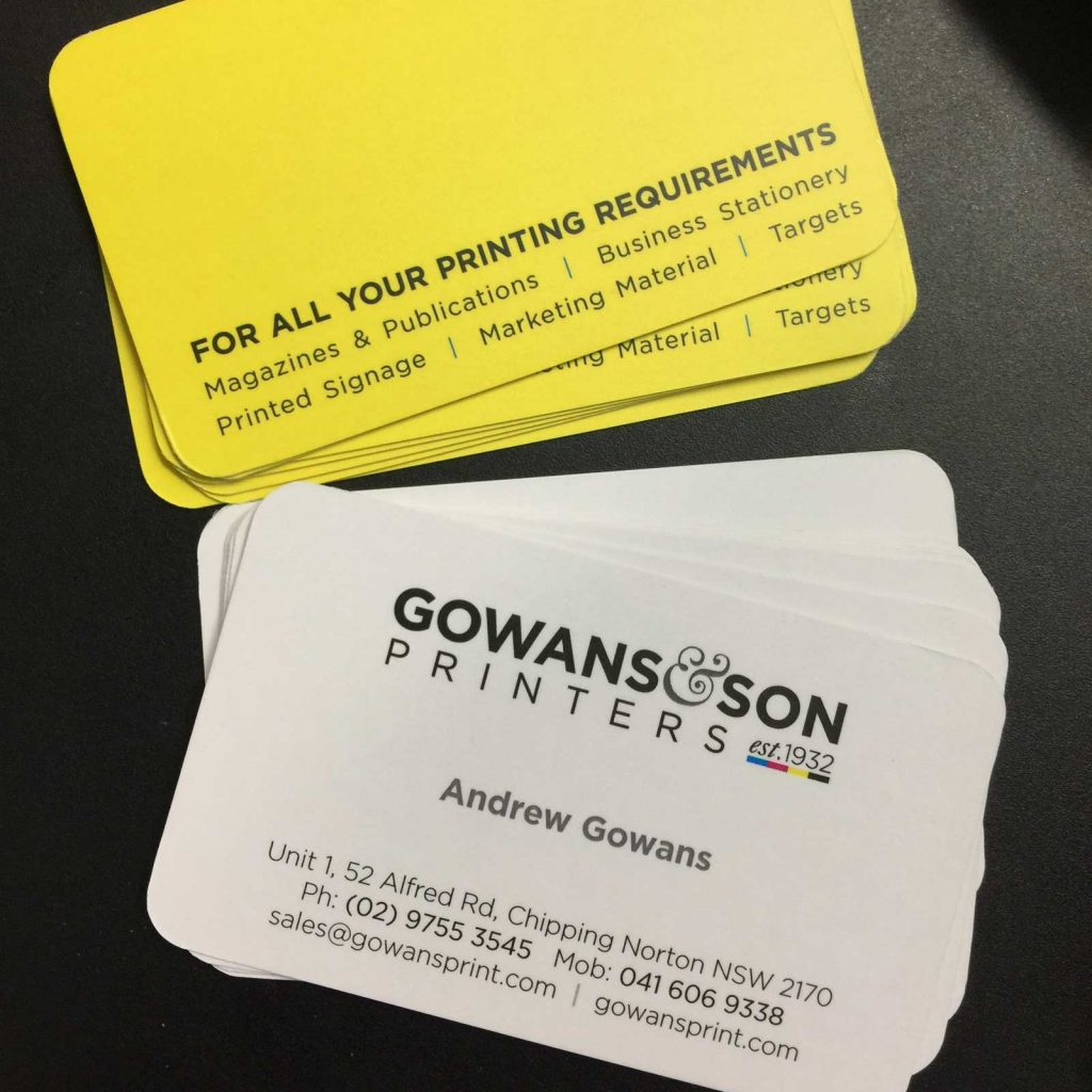 Business cards with round corners printed in Chipping Norton Sydney, the perfect pocket size marketing tool