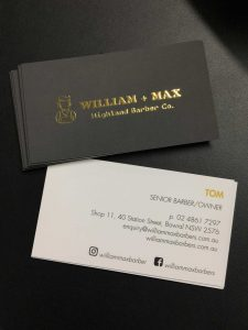 Soft touch matt cello raised gold business cards printed in Chipping Norton Sydney